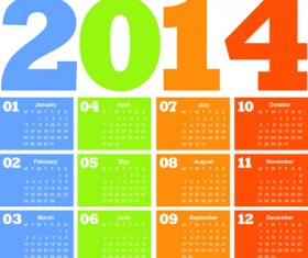 Calendar 2014 vector huge collection 03