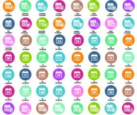 Calendar icons vector 01