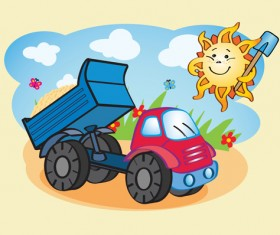Cartoon funny car design vector 01