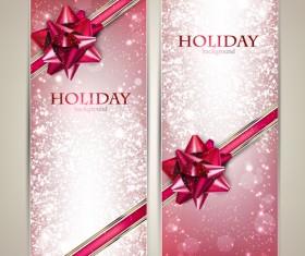 Bow christmas cards vector 01