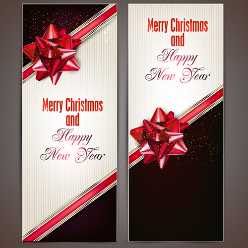 Bow christmas cards vector 02