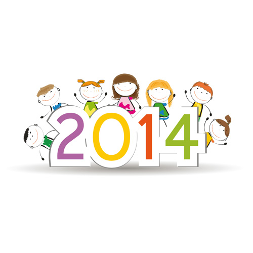 Child and New Year 2014 vector 01