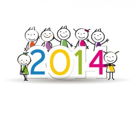 Child and New Year 2014 vector 02