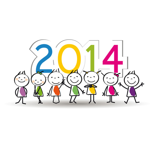 Child and New Year 2014 vector 03