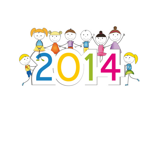 Child and New Year 2014 vector 04