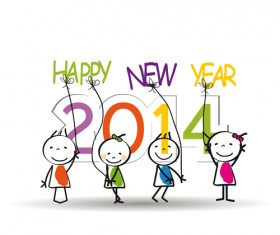 Child and New Year 2014 vector 05