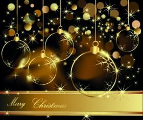 Glowing Christmas ball design vector 01