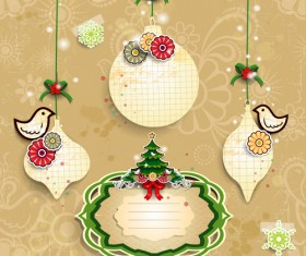 Christmas decor paper and frames vector
