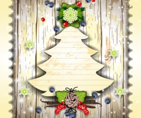 Christmas decor paper on the wood wall vector 01