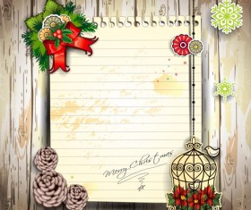 Christmas decor paper on the wood wall vector 02