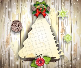 Christmas decor paper on the wood wall vector 03