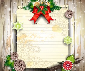 Christmas decor paper on the wood wall vector 04