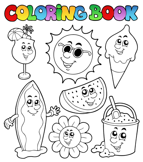 coloring book vector set 01 free download