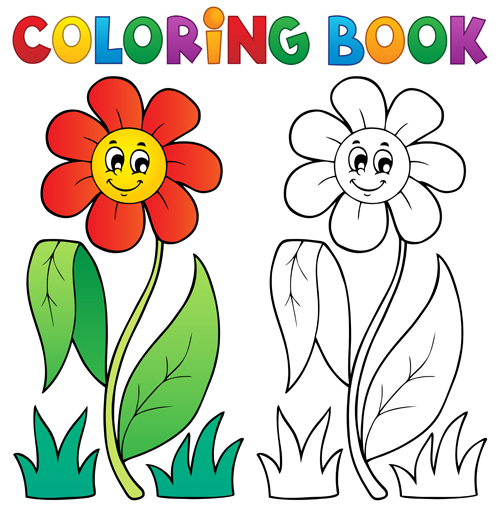 Coloring book vector set 03 free download
