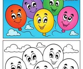 Coloring book vector set 04