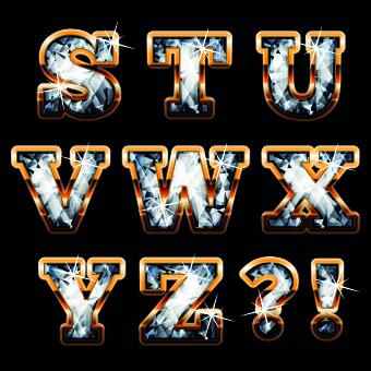 U Alphabet In Diamond Pin Vector Gold Alphabet With Diamonds And Gems Letters U V W X on ...