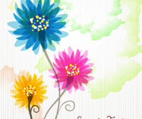 Flower illustrations vector background 23