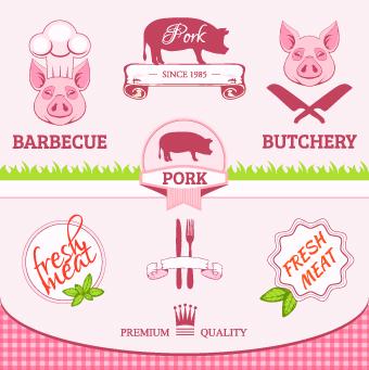 Fresh Food label design vector 02