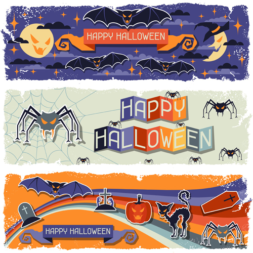 Funny Halloween vector banner 03