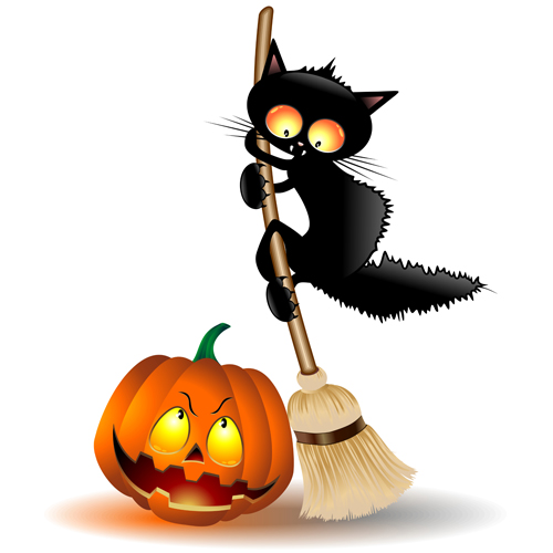 Halloween Spooky Pumpkins and cat vector 01