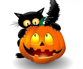 Halloween Spooky Pumpkins and cat vector 02