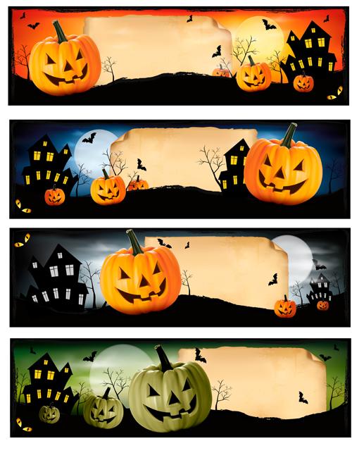 Halloween night banner vector set 01