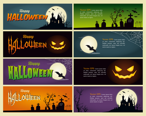 Halloween night banner vector set 02