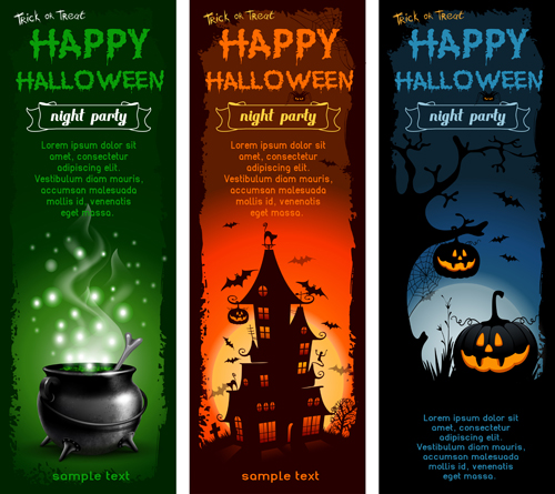 Halloween night banner vector set 03