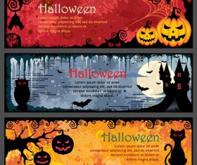 Halloween night banner vector set 05