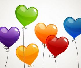 Color Heart balloons vector 01