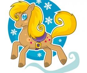 Horse 2014 cute design vector 01