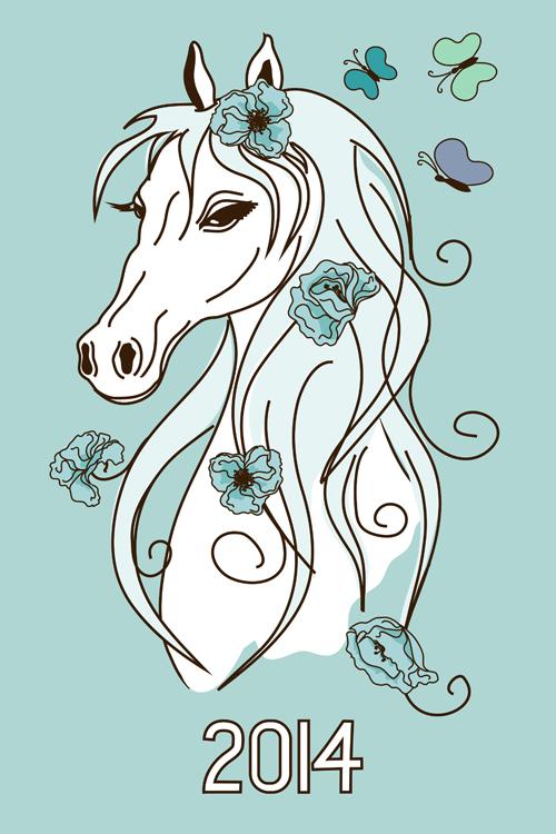 Horse 2014 cute design vector 04