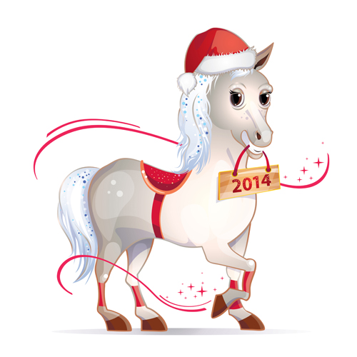 Horse 2014 cute design vector 05
