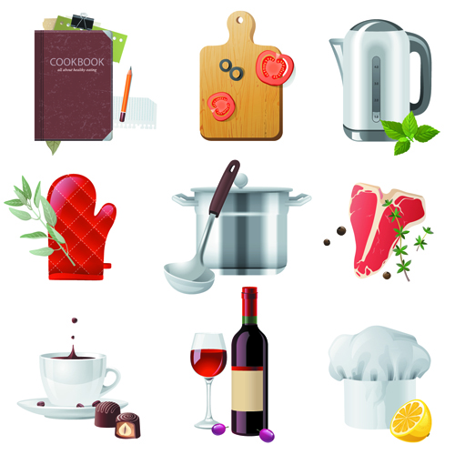 Shiny food cooking icons vector 03