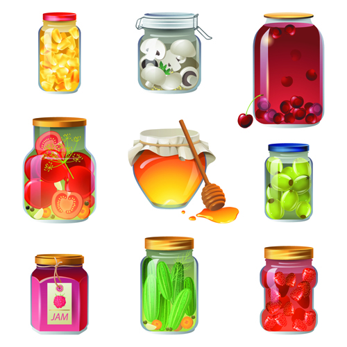 Shiny food cooking icons vector 04
