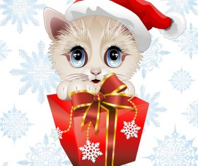 Christmas funny cats vector 01