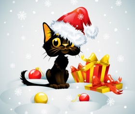 Christmas funny cats vector 02
