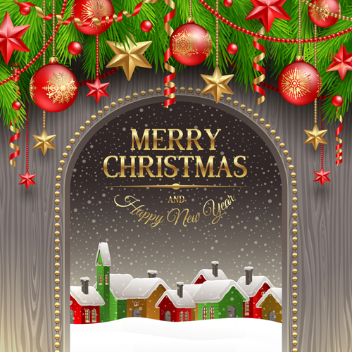New Year 2014 Christmas elements set vector 02 free download