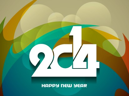 2014 New Year background vector graphics 04