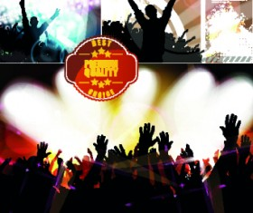 Party background with people silhouettes vector 04