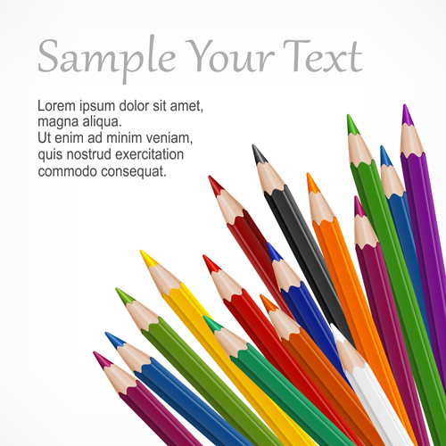colored pencils vector background set 03 - vector background free, Powerpoint templates