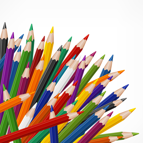 colored pencils vector background set 05 - vector background free, Powerpoint templates