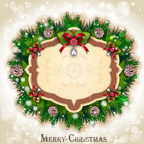 Pine needles frame christmas background 04