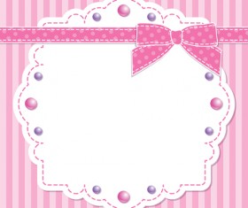 Pink style kid card designs vector 03