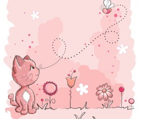 Pink style kid card designs vector 05