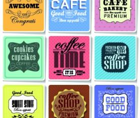 Retro food labels illustration vector 01