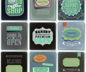 Retro food labels illustration vector 02