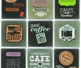Retro food labels illustration vector 03