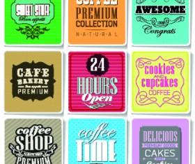 Retro food labels illustration vector 04