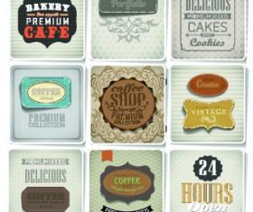 Retro food labels illustration vector 05